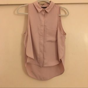 Topshop Muted Pink Sleeveless Collared Blouse